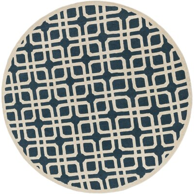 Murrah Blue/Ivory Area Rug Rug Size: Round 36