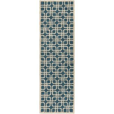 Murrah Teal/Ivory Area Rug Rug Size: Runner 23 x 14