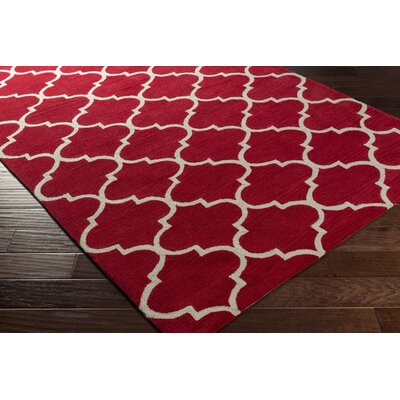 Stembert Hand-Tufted Red/White Area Rug Rug Size: Rectangle 2 x 3