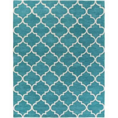 Cleaves Teal/Ivory Area Rug Rug Size: Rectangle 76 x 96