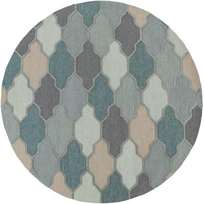 Galya Teal Area Rug Rug Size: Round 8