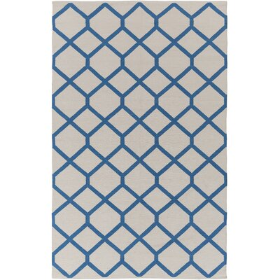 Murphree Ivory & Blue Area Rug Rug Size: Rectangle 2' x 3'