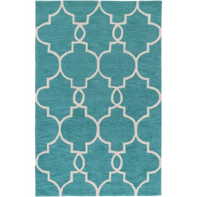 Hellwig Teal/Ivory Area Rug Rug Size: Rectangle 5 x 76