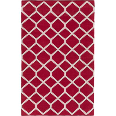 Murphree Red & Ivory Area Rug Rug Size: Rectangle 9 x 12