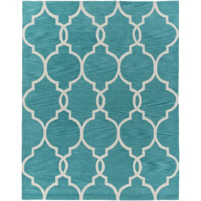 Hellwig Teal/Ivory Area Rug Rug Size: Rectangle 76 x 96
