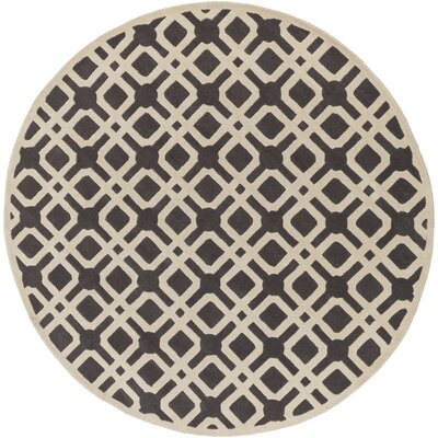 Murrah Gray & Ivory Area Rug Rug Size: Round 6