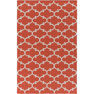 Ayles Coral/Ivory Area Rug Rug Size: Rectangle 8 x 10