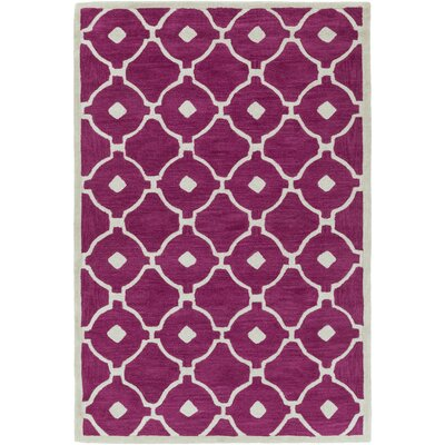 Kroeger Fuchsia/Ivory Area Rug Rug Size: Rectangle 5 x 76