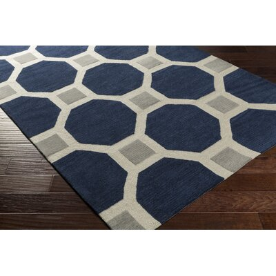 St Andrews Hand-Tufted Navy/Gray Area Rug Rug Size: 33 x 53