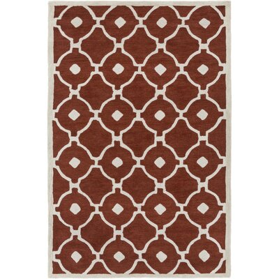 Kroeger Rust/Ivory Area Rug Rug Size: Rectangle 5 x 76