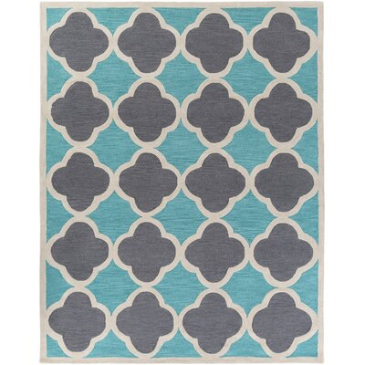 Corson Teal/Gray Area Rug Rug Size: Rectangle 76 x 96