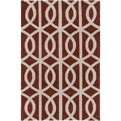 Gingrich Rust/Ivory Area Rug Rug Size: Rectangle 5 x 76