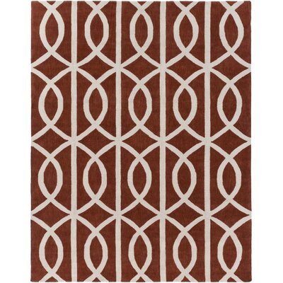 Gingrich Rust/Ivory Area Rug Rug Size: Rectangle 76 x 96