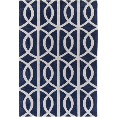 Gingrich Navy/Ivory Area Rug Rug Size: Rectangle 5 x 76