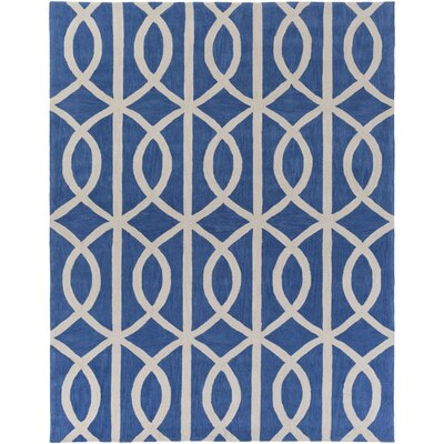 Gingrich Royal Blue/Ivory Area Rug Rug Size: Rectangle 76 x 96