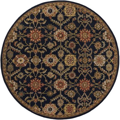 Phair Hand-Tufted Navy Area Rug Rug Size: Round 8