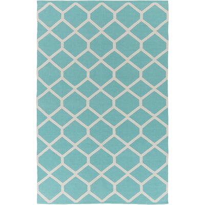 Murphree Teal/Ivory Area Rug Rug Size: Rectangle 8 x 10