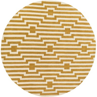 Zeitz Hand-Tufted Yellow Area Rug Rug Size: Round 8
