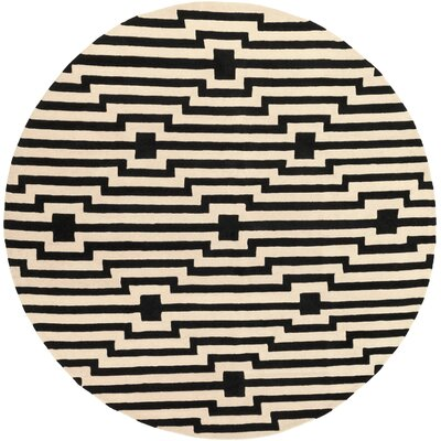 Transit Sawyer Hand-Tufted Black Area Rug Rug Size: Round 36