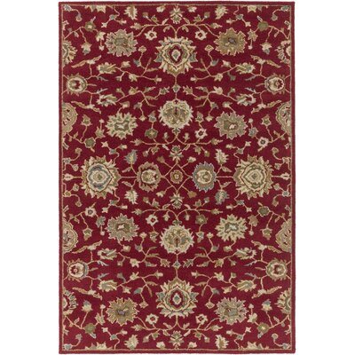 Hennis Red Area Rug Rug Size: Rectangle 76 x 96