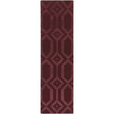 Metro Scout Hand-Loomed Burgundy Area Rug Rug Size: Runner 23 x 12