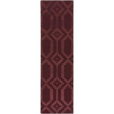 Brack Hand-Loomed Burgundy Area Rug Rug Size: Runner 23 x 12