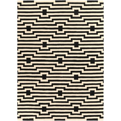 Zeitz Hand-Tufted Black Area Rug Rug Size: Rectangle 9 x 13