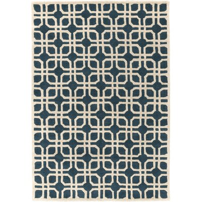Murrah Blue/Ivory Area Rug Rug Size: Rectangle 5 x 8