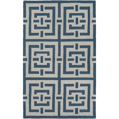 Impression Libby Hand-Tufted Blue/White Area Rug Rug Size: 9 x 13
