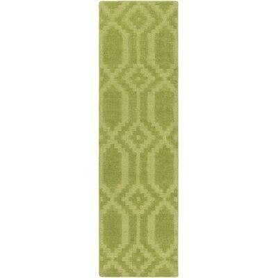 Brack Hand-Loomed Green Area Rug Rug Size: Runner 23 x 10
