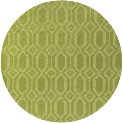 Brack Hand-Loomed Green Area Rug Rug Size: Round 99