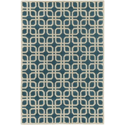 Murrah Teal/Ivory Area Rug Rug Size: Rectangle 76 x 96
