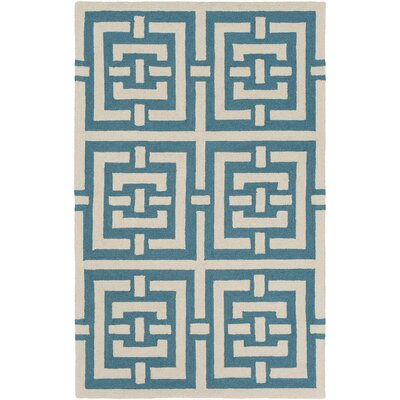 Providence Hand-Tufted Teal/Ivory Area Rug Rug Size: Rectangle 4 x 6