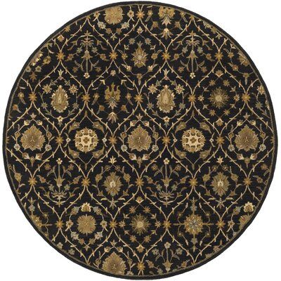 Phinney Black Hand Tufted Area Rug Rug Size: Round 6
