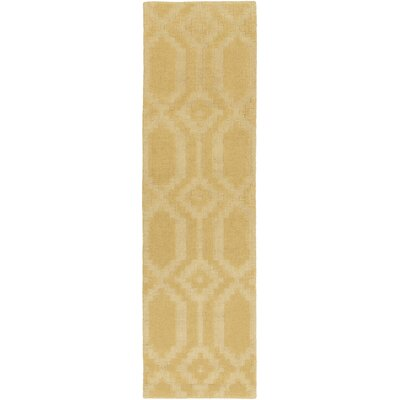 Brack Hand-Loomed Yellow Area Rug Rug Size: Runner 23 x 14