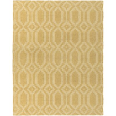 Brack Hand-Loomed Yellow Area Rug Rug Size: Rectangle 9' x 12'