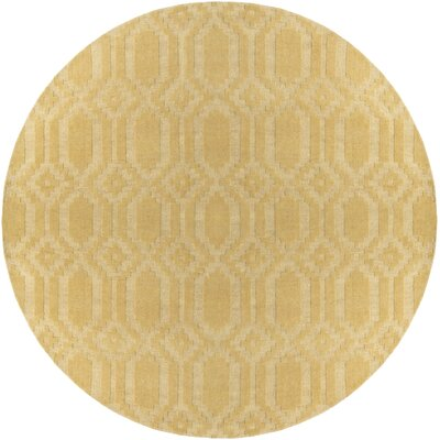 Brack Hand-Loomed Yellow Area Rug Rug Size: Round 7'9