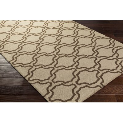 Coulombe Hand-Tufted Beige Area Rug Rug Size: Rectangle 5 x 8