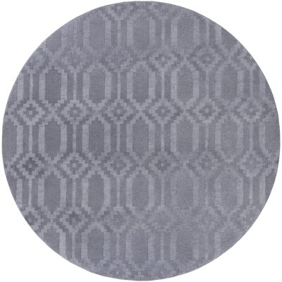 Brack Hand-Loomed Gray Area Rug Rug Size: Round 6
