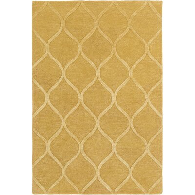 Massey Hand-Tufted Gold Area Rug Rug Size: Round 6