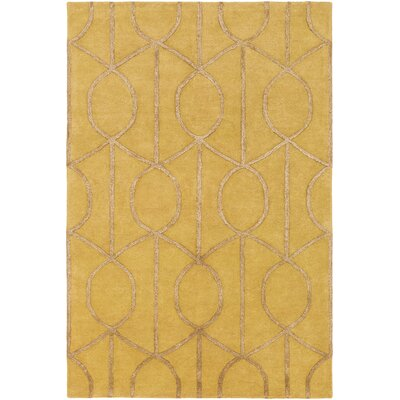 Abbey Hand-Tufted Gold Area Rug Rug Size: Round 6