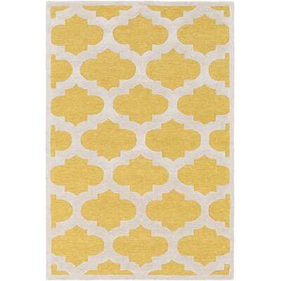 Arise Hadley Hand-Tufted Yellow Area Rug Rug Size: 6 x 9