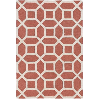 Wyble H-Tufted Coral Area Rug Rug Size: Round 6