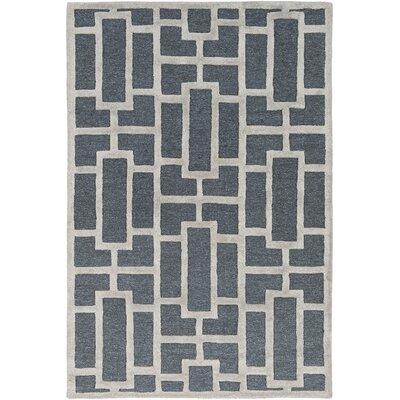 Perpetua Hand-Tufted Navy Area Rug Rug Size: Rectangle 76 x 96
