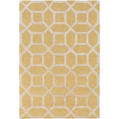 Wyble Hand- Woven Yellow Area Rug Rug Size: Round 36