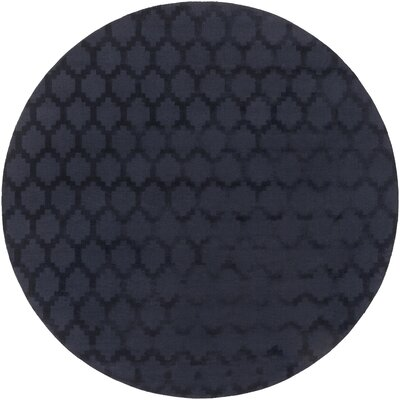 Metro Riley Hand-Loomed Navy Area Rug Rug Size: Round 6