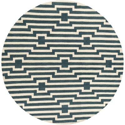 Zeitz Hand-Tufted Blue Area Rug Rug Size: Round 8