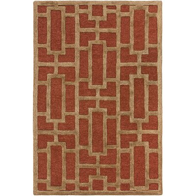 Perpetua Hand-Tufted Rust Area Rug Rug Size: Rectangle 3 x 5