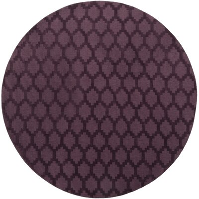 Bracey Hand-Loomed Plum Area Rug Rug Size: Round 99