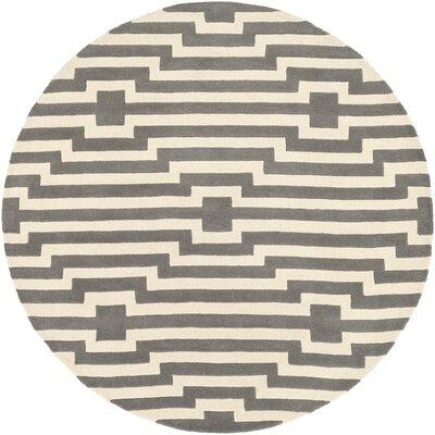 Zeitz Hand Woven Wool Gray/Ivory Area Rug Rug Size: Round 6